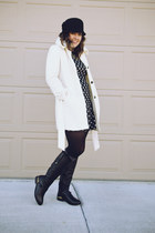 black leather knee JustFab boots - black Target dress - white The Limited coat