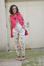 Coral-studded-moto-forever-21-vest-white-floral-skinny-justfab-jeans