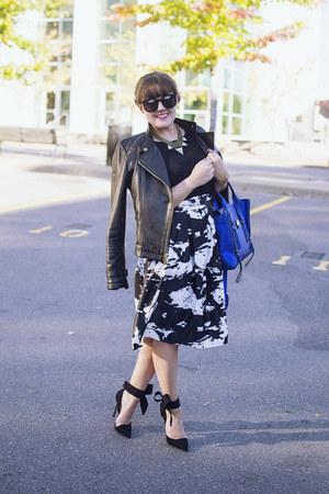 white Sheinside skirt - black leather moto Kenneth Cole jacket