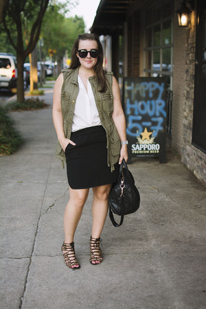 black pebbled leather Alexander Wang bag - black pencil skirt JCrew skirt