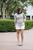 The Limited sweater - chambray Old Navy shirt - new york and co shorts