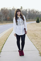 white Love 21 blouse - brick red JustFab boots