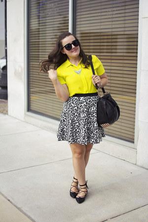 black rocco Alexander Wang bag - white leopard Rebecca Taylor skirt