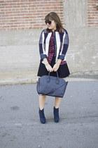 navy plaid Target blazer - brick red plaid ruffled Victorias Secret shirt