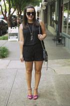 black lace leather Trina Turk shorts - black Rebecca Minkoff bag
