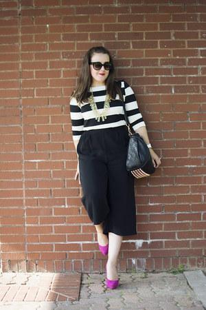 black culottes asos pants - white striped Forever 21 shirt