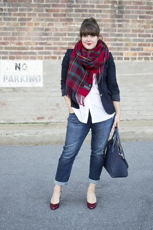 red plaid blanket asos scarf - blue boyfriend Nordstrom jeans