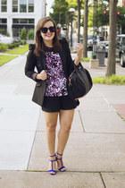 black Zara blazer - hot pink leopard Diane Von Furstenberg shirt
