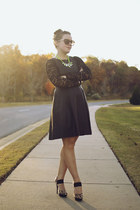 black leather The Limited dress - black cropped lace Express top