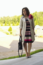 beige trench Old Navy coat - navy striped aline The Limited dress