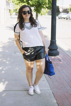 white Rebecca Taylor top - blue metallic pashli 31 Phillip Lim bag