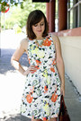 White-floral-a-line-gap-dress-light-orange-ankle-strap-shoedazzle-wedges