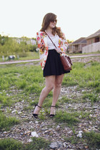 light orange floral Zara blazer - tawny structured mini coach bag
