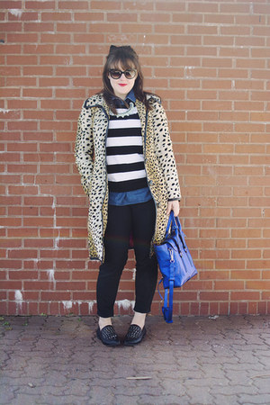 black striped Equipment sweater - camel leopard print Trina Turk coat