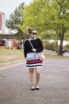 red stripe kate spade saturday skirt - black cropped The Limited sweater