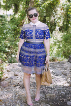 navy Sheinside dress - camel coach bag - black Karen Walker sunglasses