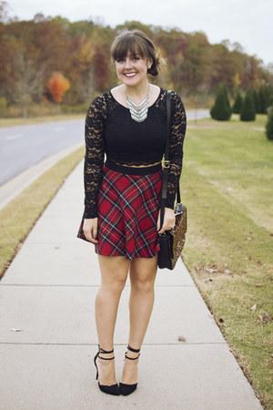 black JustFab heels - brown Fossil bag - ruby red plaid skater Forever 21 skirt