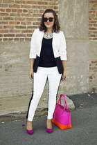 white colorblock The Limited blazer - hot pink colorblock kate spade bag