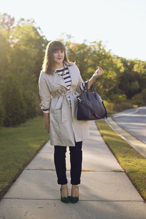 dark khaki trench Old Navy coat - black striped The Limited shirt
