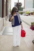 navy stripe Forever 21 blazer - red beau kate spade bag - navy pleated Zara top