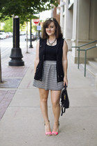 black stripe aline Forever 21 skirt - black vintage coach bag