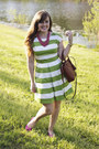 Chartreuse-stripes-love-21-dress-hot-pink-beads-target-necklace