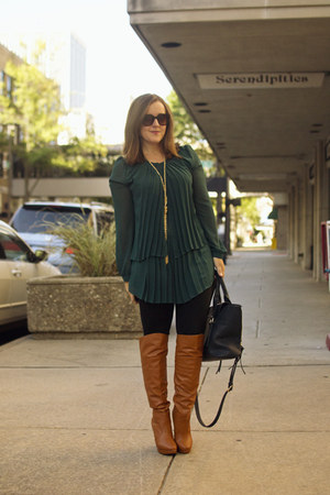 tawny over the knee Shoedazzle boots - dark green pleated Love 21 top