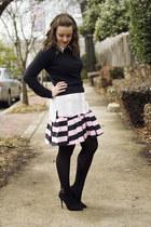 bubble gum asos skirt - black vintage sweater - white bardot shirt