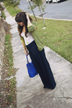 chartreuse houndstooth Forever 21 cardigan - blue JustFab bag - navy H&M pants