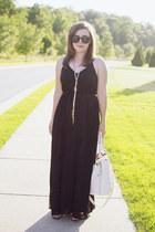 black pleated maxi Victorias Secret dress - off white studded JustFab bag