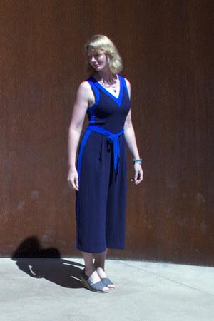 blue jumpsuit Anthropologie romper - heather gray TOMS wedges