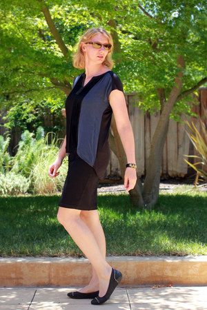 black pencil skirt - blue blouse - black JCrew flats