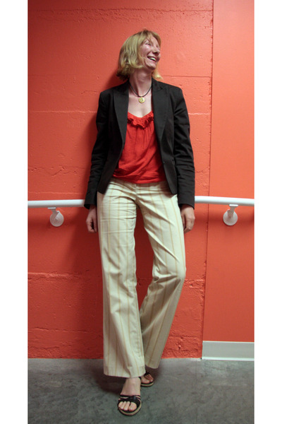 coral frilly Polo Garage blouse - brown banana republic blazer