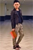 carrot orange Celine bag - dark gray YSL sandals - navy Topman t-shirt - bronze