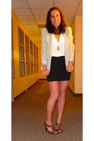 beige New York & Company blazer - black Forever 21 skirt - Kenneth Cole heels