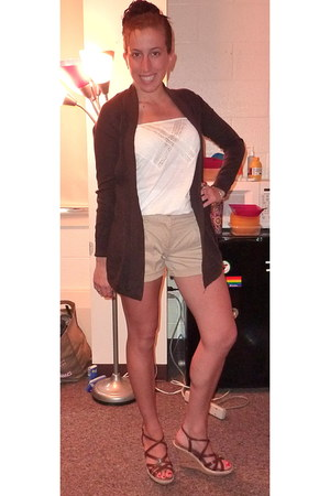 tan BCBG shorts - American Eagle top - New York & Company wedges - Express cardi