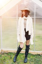 black over the knee farylrobin boots - ivory button down Just Cavalli shirt