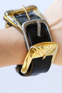 black cuff buckle vintage bracelet
