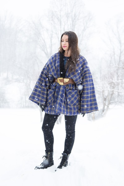 black combat lace up vintage boots - blue kimono plaid vintage coat