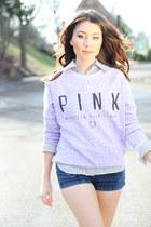 light purple victorias secret pink sweatshirt