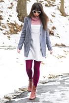 ivory vintage dress - maroon vivid bright We Love Colors tights