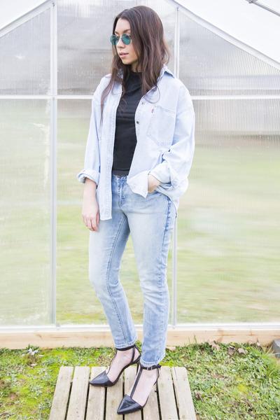 light blue cropped Max Jeans jeans - light blue Levis shirt