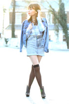 blue denim boyfriend vintage jacket - light blue shirt - blue vintage skirt