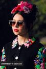 black floral applique vintage cardigan