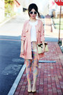 white vintage sunglasses - light pink Choies jacket - cream clutch vintage bag