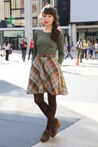 gray Esska shoes - dark brown tights - brown plaid vintage skirt