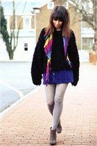 black fuzzy oversized vintage sweater - silver tights - hot pink vintage scarf