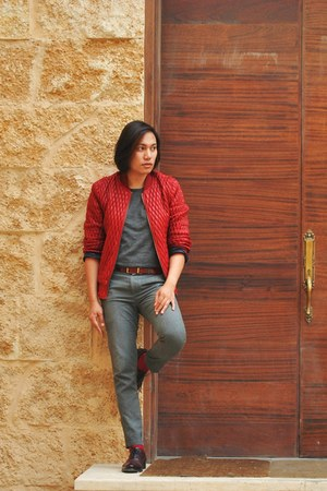 red quilted Zara jacket