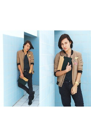 camel bomber jacket Zara jacket