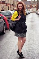 yellow asos jumper - Matalan dress - next bag - Deichmann heels